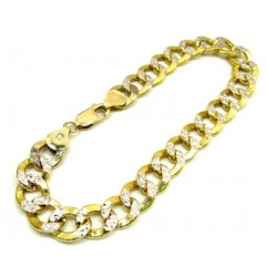 10k Yellow Gold Diamond Cut Cuban Bracelet 9 Inch 9.6mm