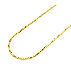 10k Yellow Gold Skinny Box Link Chain 16-20 Inch 0.5mm