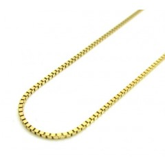 10k Yellow Gold Skinny Box Link Chain 16-24 Inch 1.0mm