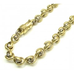 10k Yellow And White Gold Interlocking Ball And Bullet Link Bracelet 9 Inch 5mm