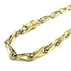 10k Yellow And White Gold Bullet Bermuda Link Bracelet 9 Inch 5mm