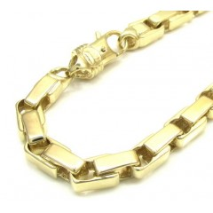 10k Yellow Gold Fancy Interlocking Box Bracelet 9 Inch 6mm