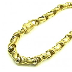 10k Yellow And White Gold Interlocking Ball Bullet Link Bracelet 9 Inch 6mm