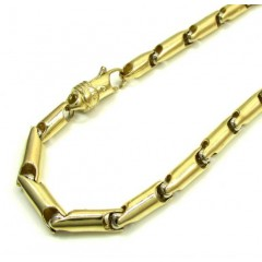10k Yellow And White Gold Bullet Link Bracelet 9.5 Inch 4.5mm