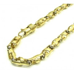10k Yellow And White Gold Fancy Spiral Cut Bracelet 9 Inch 5.4mm