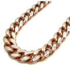 10k Rose Gold One Sided Diamond Cut Cuban Chain 30 Inch 10mm