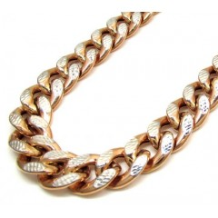 10k Rose Gold One Sided Diamond Cut Cuban Chain 30 Inch 13.20mm