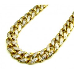 10k Yellow Gold One Sided Diamond Cut Cuban Chain 28 Inch 13.20mm