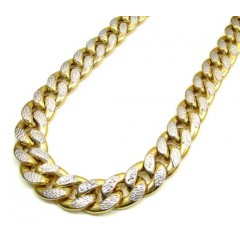 10k Yellow Gold One Sided Diamond Cut Cuban Chain 30 Inch 15.50mm