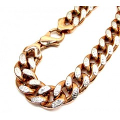 10k Rose Gold One Sided Diamond Cut Cuban Bracelet 9 Inch 13.20mm