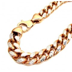 10k Rose Gold One Sided Diamond Cut Cuban Bracelet 8.50 Inch 10mm