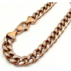 10k Rose Gold One Sided Diamond Cut Cuban Bracelet 8.50 Inch 8.30mm