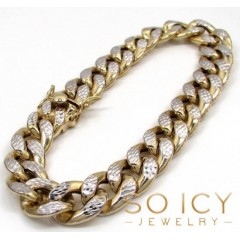 10k Yellow Gold One Sided Diamond Cut Cuban Bracelet 9 Inch 15mm