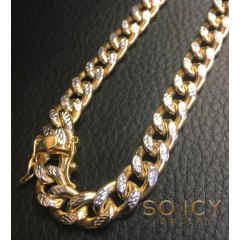 10k Yellow Gold One Sided Diamond Cut Cuban Bracelet 9 Inch 8.40mm