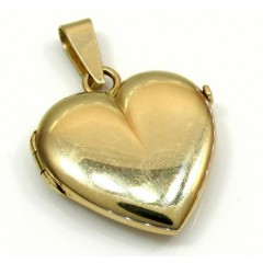 14k Yellow Gold Picture Heart Locket Pendant