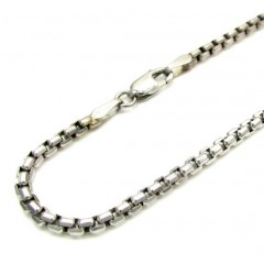 Ladies 14k White Gold Box Link Bracelet 7.25 Inch 2.2mm