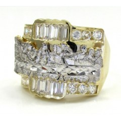 Mens 10k Yellow Gold the Last Supper Cz Ring 2.00ct