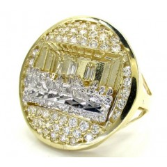 Mens 10k Yellow Gold the Last Supper Cz Ring 2.50ct