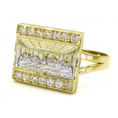 Ladies 10k Two Tone Cz the Last Supper Ring 0.30ct