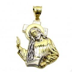 10k Gold Two Tone Jesus Carrying Cross Medium Pendant