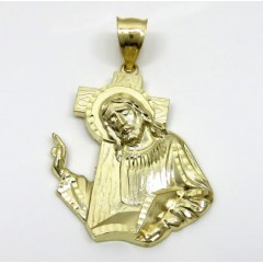10k Yellow Gold Jesus Carrying Cross Medium Pendant