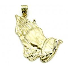Mens 10k Yellow Gold Large Praying Hands Pendant