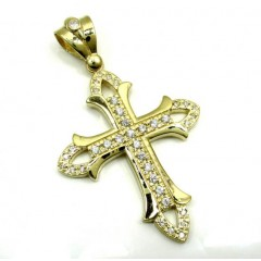 Mens Medium 10k Yellow Gold Cz Cross Pendant 1.25ct