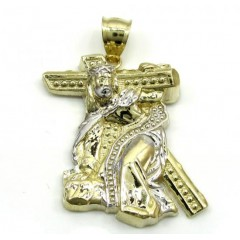 Mens Small 10k Two Tone Jesus Carrying Cross Pendant