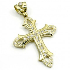Mens Large 10k Yellow Gold Cz Cross Pendant 1.50ct