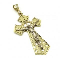 10k Gold Two Tone Jesus Cross Xl Cz Pendant 0.25ct