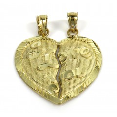 10k Yellow Gold  2 In 1 I Love You Heart Pendants
