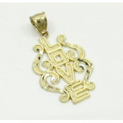 Ladies 10k Yellow Gold Fancy Love Pendant