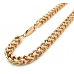 Mens 10k Rose Gold Franco Bracelet 8 Inch 4.20mm