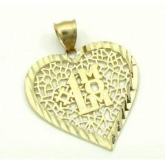 Ladies 10k Yellow Gold Fancy #1 Mom Heart Pendant