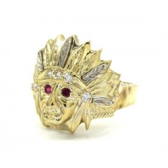 Mens 10k Two Tone Indian Chief Cz Head Ring 0.35ct