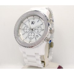 2.00ct Mens Techno Com By Kc Diamond Watch white Ceramic