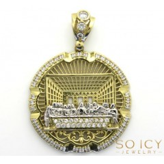 10k Yellow Gold Two Tone Cz Medium Jesus Apostles Last Supper Pendant 4.00ct