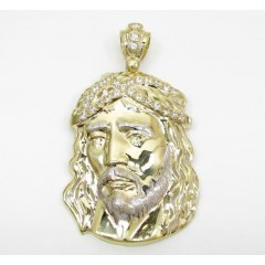 Mens 10k Two Tone Cz Medium Jesus Head Pendant 3.00ct