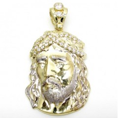 Mens 10k Two Tone Cz Small Jesus Head Pendant 3.00ct