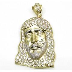 Mens 10k Yellow Gold Fully Iced Cz Medium Jesus Face Pendant 2.50ct