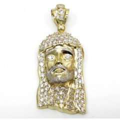 Mens 10k Yellow Gold Fully Iced Cz Jesus Face Pendant 2.50ct