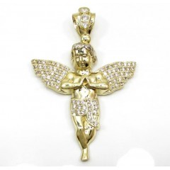 10k Yellow Gold Medium Baby Cherub Angel Pendant 3.00ct