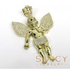 10k Yellow Gold Medium Baby Cherub Pendant 3.15ct