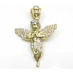 10k Yellow Gold Small Baby Cherub Angel Pendant 2.50ct