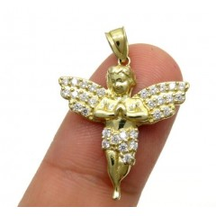 10k Yellow Gold Mini Baby Cherub Angel Pendant 1.50ct