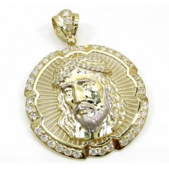10k Yellow Gold Two Tone Jesus Face Halo Pendant 2.00ct