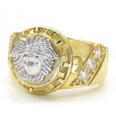 Mens 10k Yellow Gold Medusa Ring .20ct