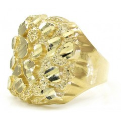 Mens 10k Yellow Gold Large Curved Nugget Ring