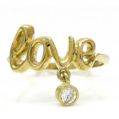 10k Yellow Gold Script Love Ring 0.05ct