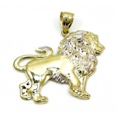 10k Yellow Gold Two Tone Lion Pendant